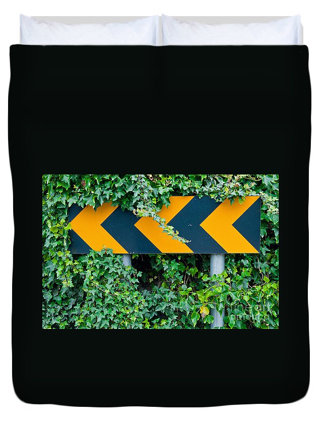 Sign Duvet Cover featuring the photograph Attention Road Sign by Luis Alvarenga