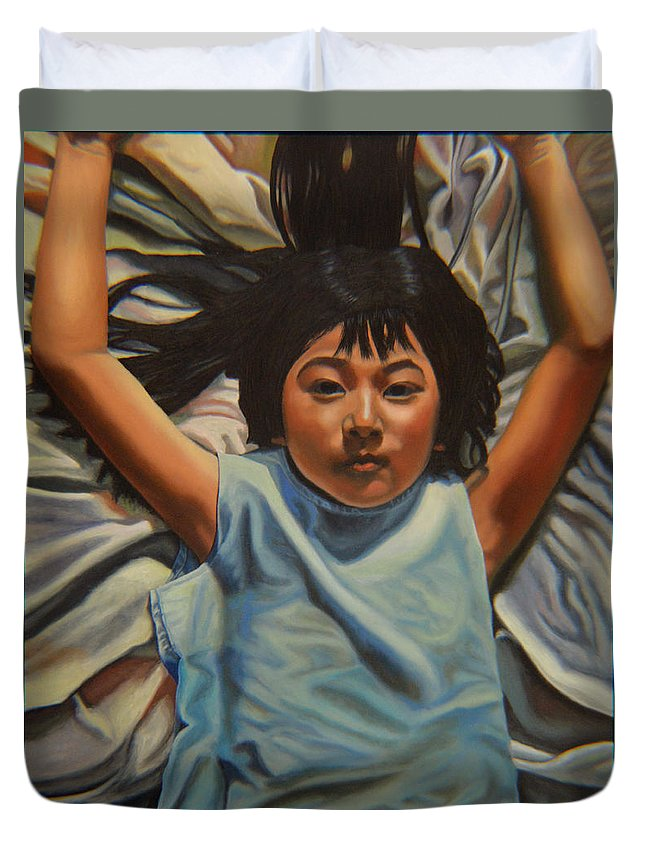 Children Paintings Duvet Cover featuring the painting Attitude 2 by Thu Nguyen