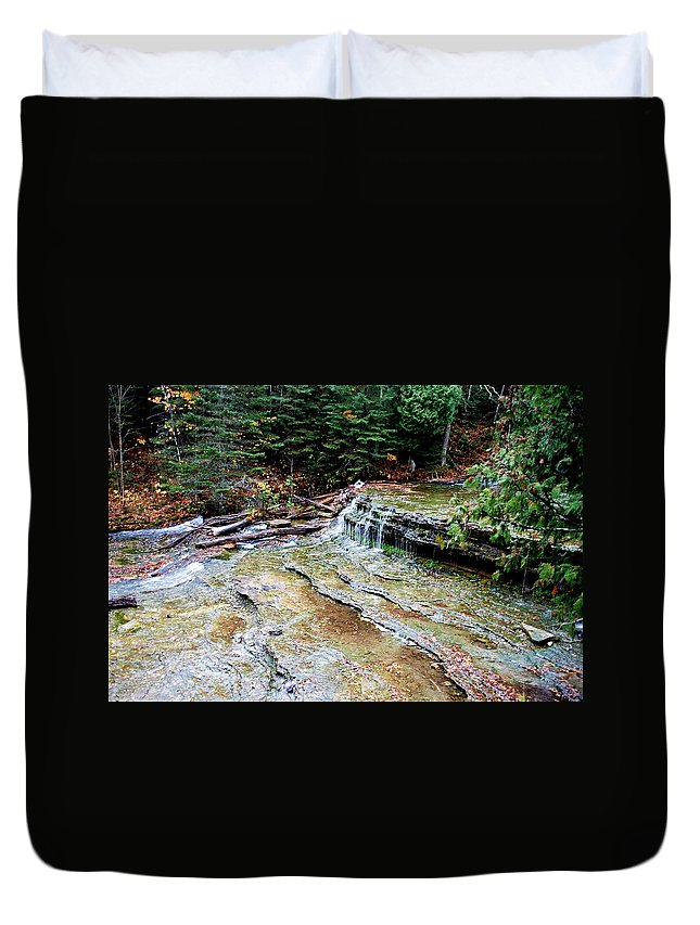 Optical Playground By Mp Ray Duvet Cover featuring the photograph Au Train Falls II by Optical Playground By MP Ray