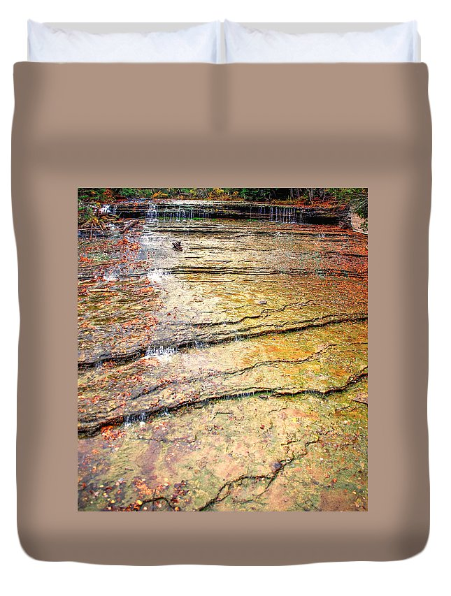 Optical Playground By Mp Ray Duvet Cover featuring the photograph Au Train Falls IIi by Optical Playground By MP Ray