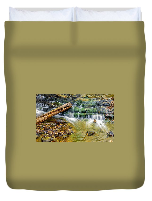 Optical Playground By Mp Ray Duvet Cover featuring the photograph Au Train Falls Iv by Optical Playground By MP Ray