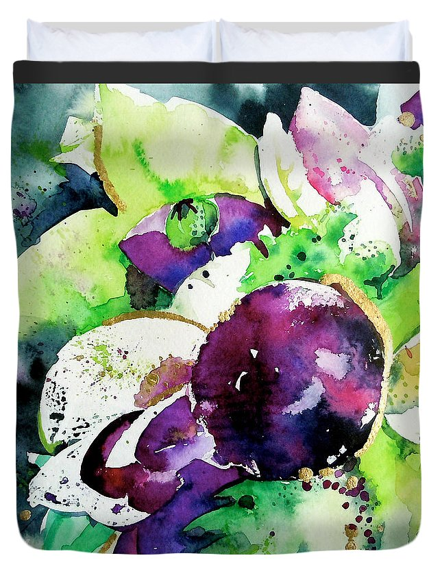 Aubergine Duvet Cover featuring the painting Aubergine Mirage by Roleen Senic