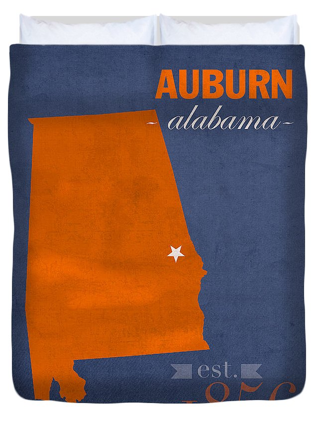 Auburn University Duvet Cover featuring the mixed media Auburn University Tigers Auburn Alabama College Town State Map Poster Series No 016 by Design Turnpike