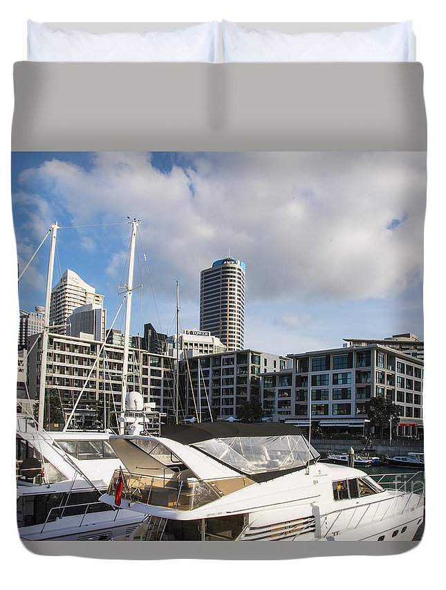 Auckland New Zealand City Cities Cityscape Cityscapes Building Buildings Structure Structures Boat Dock Docks Boats Marina Marginal Sky Tower Towers Architecture Water Duvet Cover featuring the photograph Auckland City View by Bob Phillips