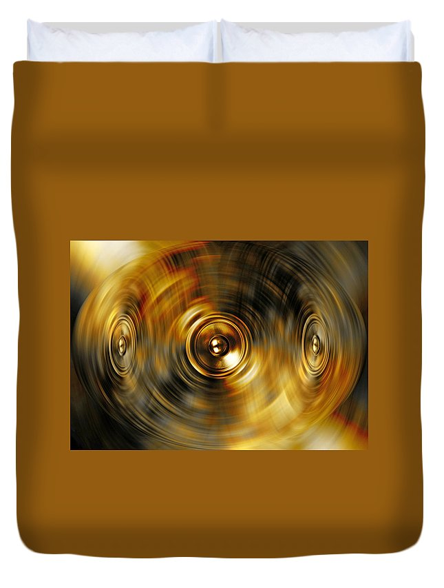 Audio Duvet Cover featuring the digital art Audio Gold by Steve Ball