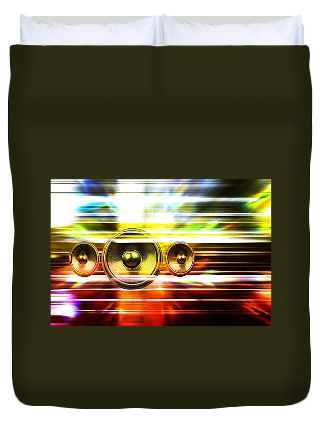 Background Duvet Cover featuring the digital art Audio Streaks by Steve Ball