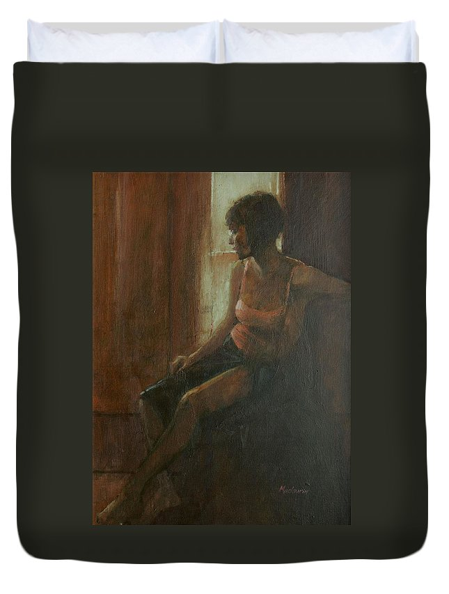 Female Duvet Cover featuring the photograph Audrey, 2009 Oil On Canvas by Pat Maclaurin