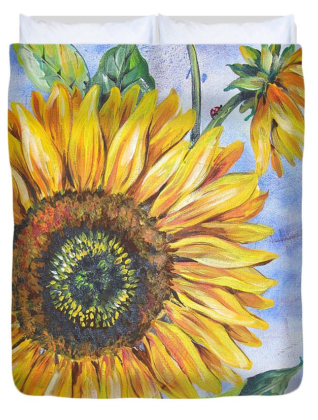 Watercolor Duvet Cover featuring the painting Audrey's Sunflower by Jean Plout