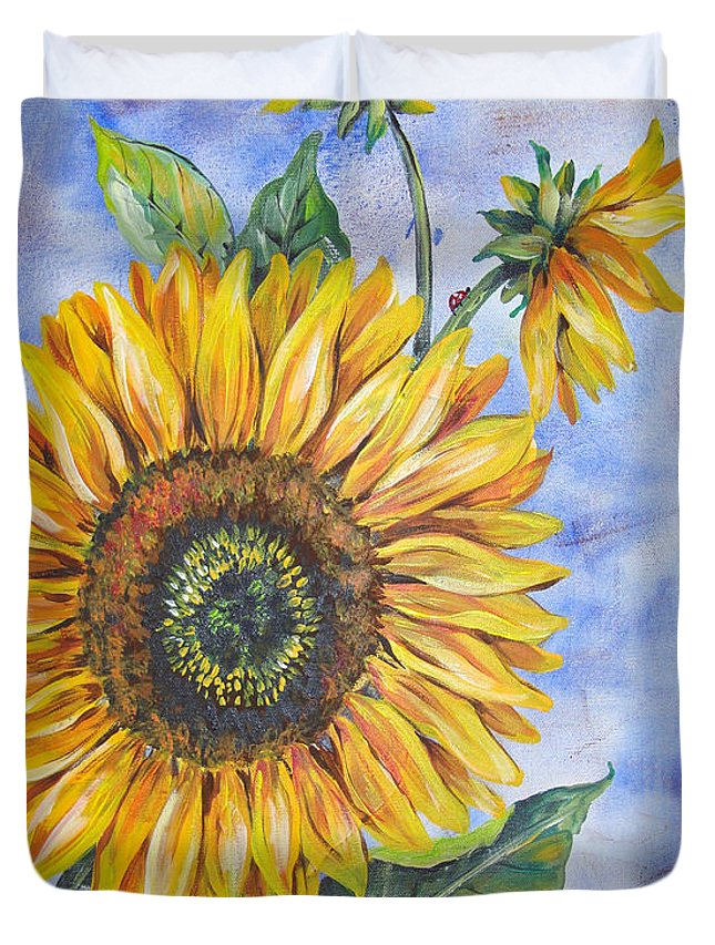 Watercolor Duvet Cover featuring the painting Audrey's Sunflower With Boarder by Jean Plout