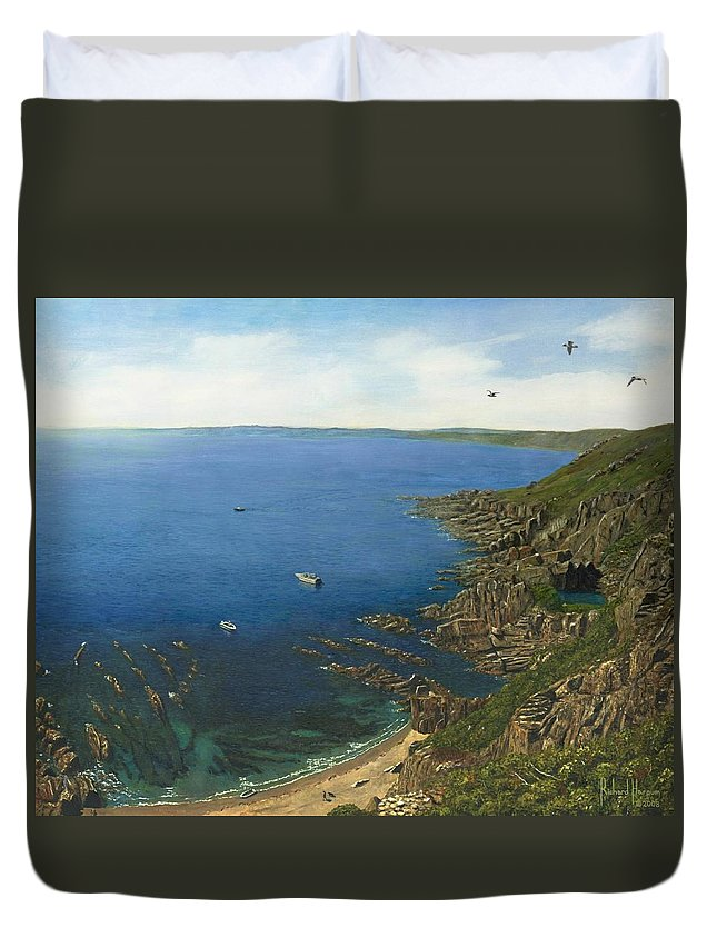 Landscape Duvet Cover featuring the painting August Afternoon At Whitsand Bay Cornwall by Richard Harpum
