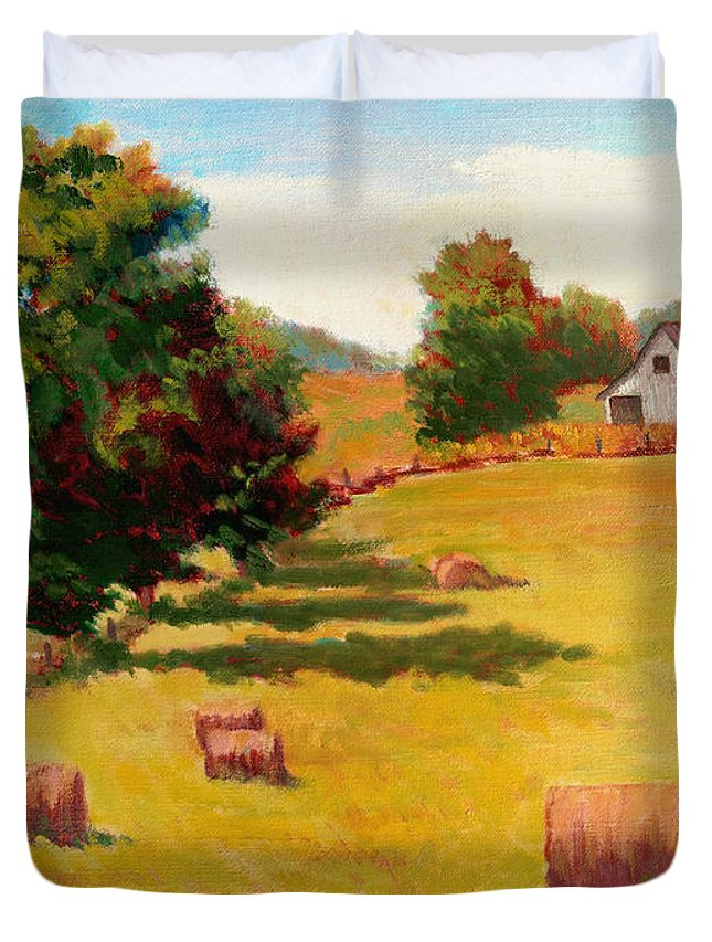 Impressionism Duvet Cover featuring the painting August Hay Field by Keith Burgess
