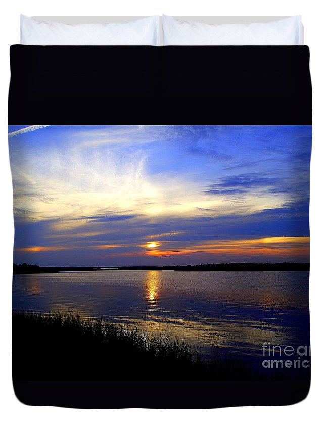 August Sunset Duvet Cover featuring the photograph August Sunset Reflection by CapeScapes Fine Art Photography