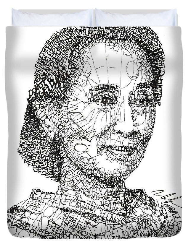 Aung San Suu Kyi Duvet Cover featuring the drawing Aung San Suu Kyi by Michael Volpicelli