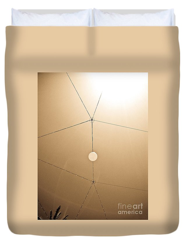 Abstract Duvet Cover featuring the photograph Aunuments Sky Beige by Fei A