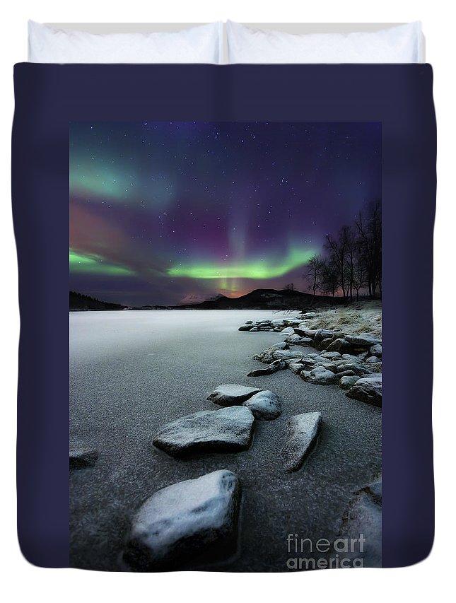 Aurora Borealis Duvet Cover featuring the photograph Aurora Borealis Over Sandvannet Lake by Arild Heitmann