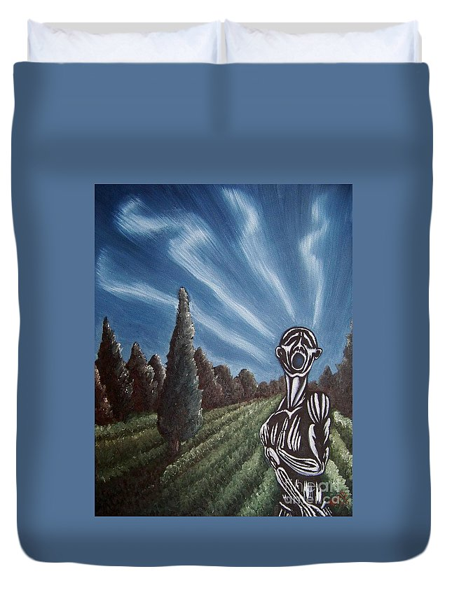 Tmad Duvet Cover featuring the painting Aurora by Michael TMAD Finney