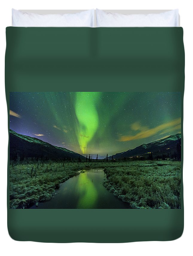 Alaska Duvet Cover featuring the photograph Aurora Valley by Kyle Lavey