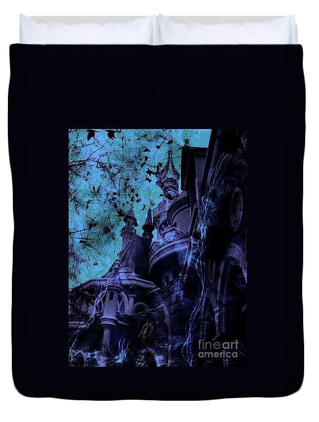 Sleeping Beauty Castle Duvet Cover featuring the digital art Aurora's Nightmare II by Marina McLain