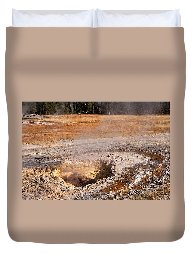 Aurum Geyser Duvet Cover featuring the photograph Aurum Geyser In Upper Geyser Basin In Yellowstone National Park by Fred Stearns