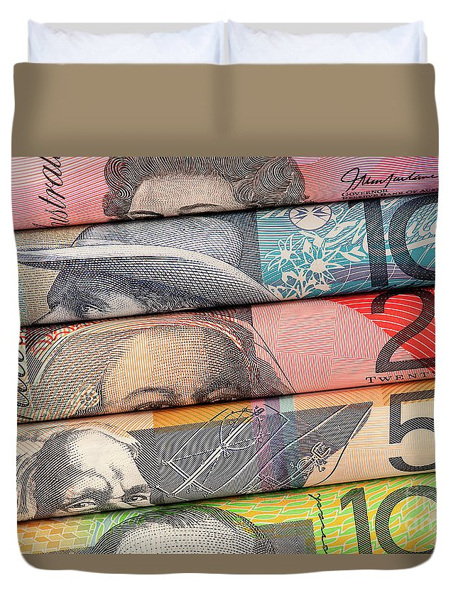 Rolled Duvet Cover featuring the photograph Aussie Dollars 01 by Rick Piper Photography
