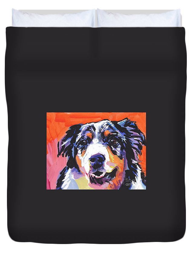 Australian Shepherd Duvet Cover featuring the painting Aussie Luv by Lea S