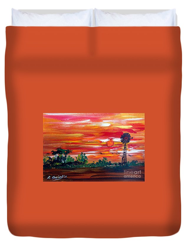 Australia Duvet Cover featuring the painting Aussie Mill by Roberto Gagliardi