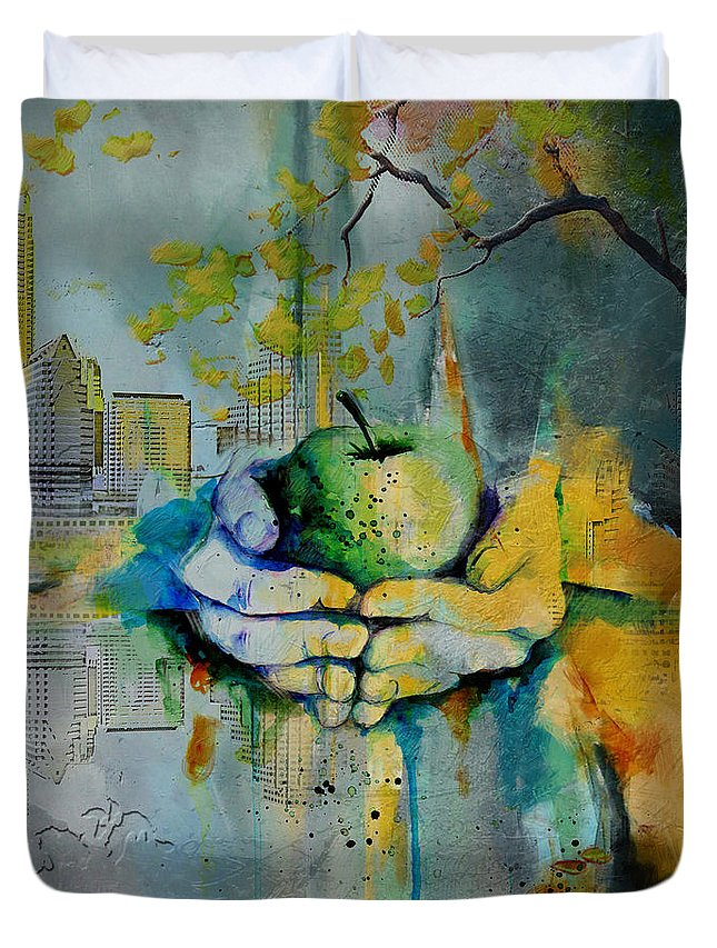 Austin Duvet Cover featuring the painting Austin Skyline by Corporate Art Task Force