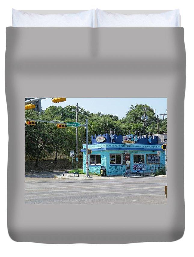 Texas Duvet Cover featuring the photograph Austin Texas Congress Street Shop by JG Thompson