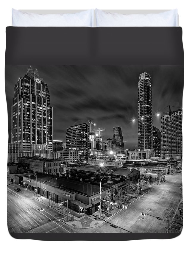 Chase Tower Duvet Cover featuring the photograph Austin Texas Skyline Get Out The Crane Construction Time Again by Silvio Ligutti
