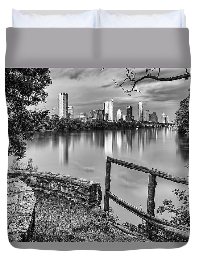 Downtown Duvet Cover featuring the photograph Austin Texas Skyline Lou Neff Point In Black And White by Silvio Ligutti