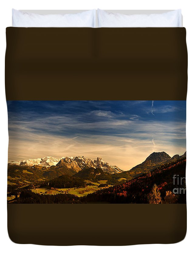 Panorama Duvet Cover featuring the photograph Austrian Autumn Scenic Panorama by Sabine Jacobs