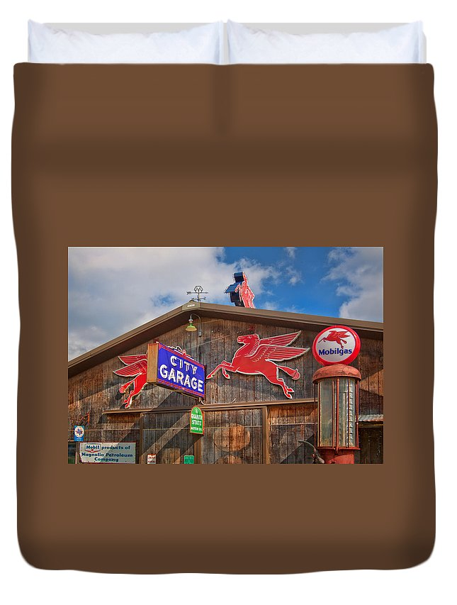 Advertising Duvet Cover featuring the photograph Auto Repair At The City Garage by David and Carol Kelly