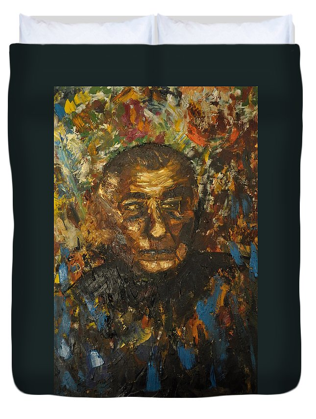 Blue Duvet Cover featuring the painting Autoretrat by Asher Topel