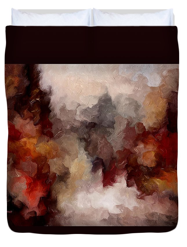Abstract Duvet Cover featuring the mixed media Autumn Abstract by Georgiana Romanovna
