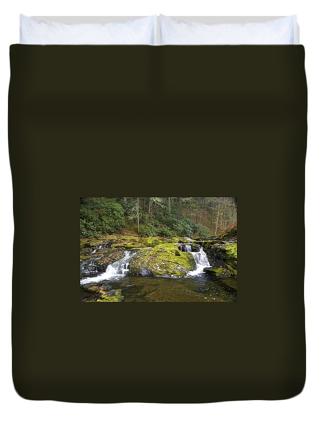 Waterfall Duvet Cover featuring the photograph Autumn At The Falls by Cheryl Gayser