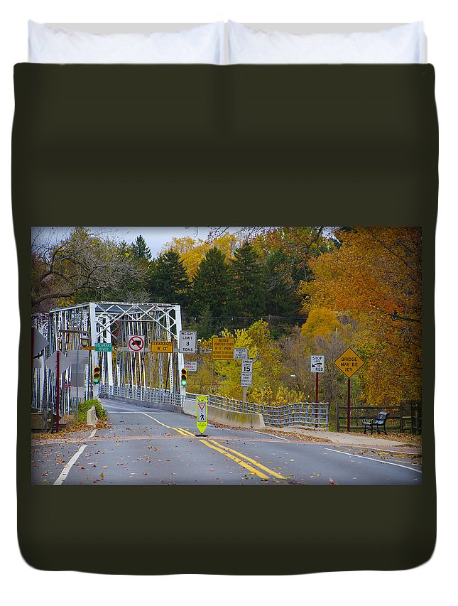 Autumn Duvet Cover featuring the photograph Autumn At Washington's Crossing Bridge by Bill Cannon