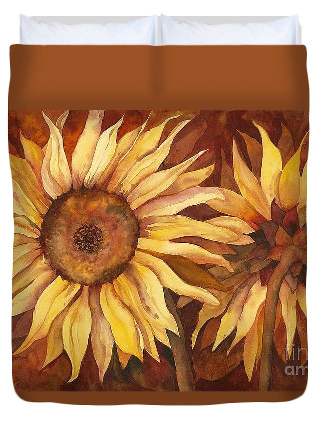 Sunflower Duvet Cover featuring the painting Autumn Beauty by Jackie Friesth
