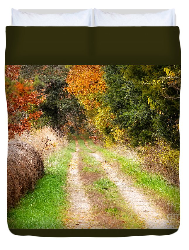 Autumn Landscape Duvet Cover featuring the photograph Autumn Beauty On Rural Dirt Road by Peggy Franz