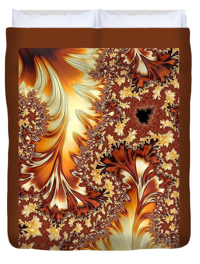 Orange Duvet Cover featuring the digital art Autumn Breezes by Heidi Smith