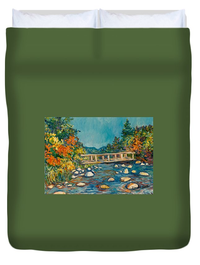 Kendall Kessler Duvet Cover featuring the painting Autumn Bridge by Kendall Kessler