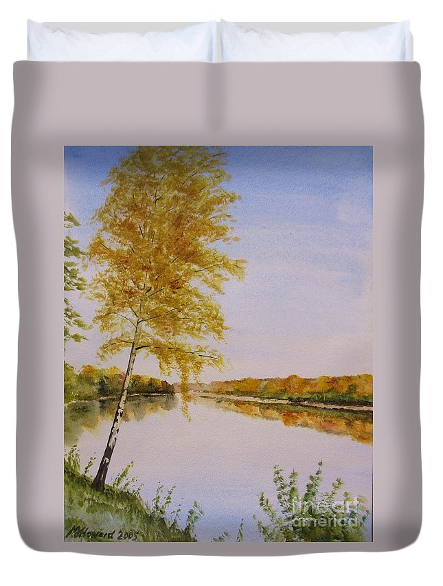 Impresionism Duvet Cover featuring the painting Autumn By The River by Martin Howard