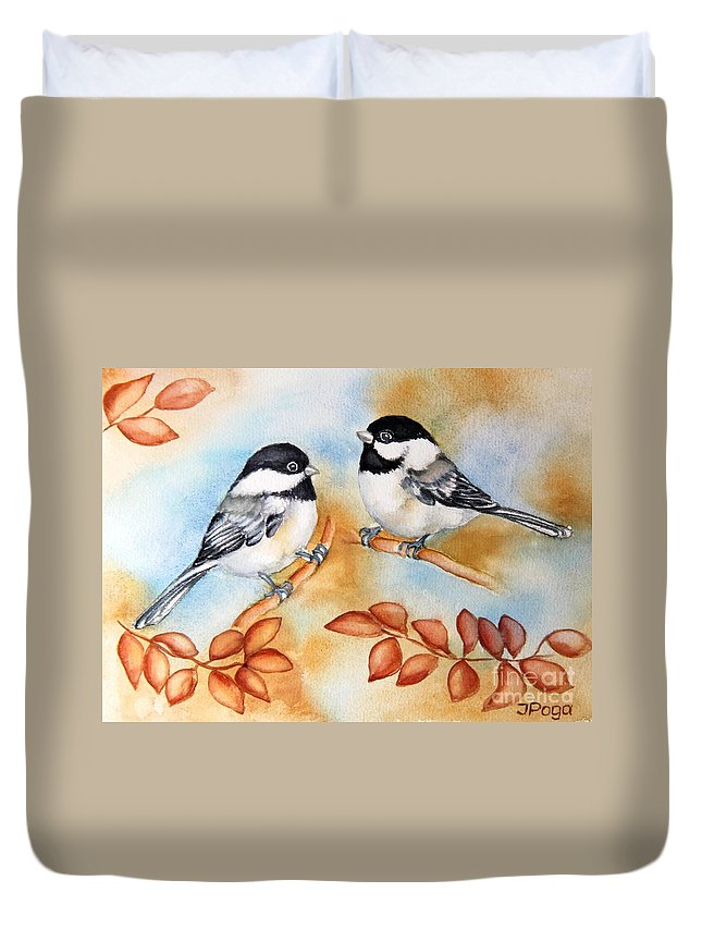 Bird Art Duvet Cover featuring the painting Autumn Chickadees by Inese Poga