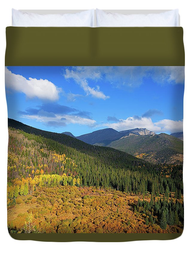 Scenics Duvet Cover featuring the photograph Autumn Color In Colorado Rockies by A L Christensen