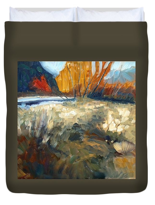 Landscape Duvet Cover featuring the painting Autumn Colours by Elena Sokolova