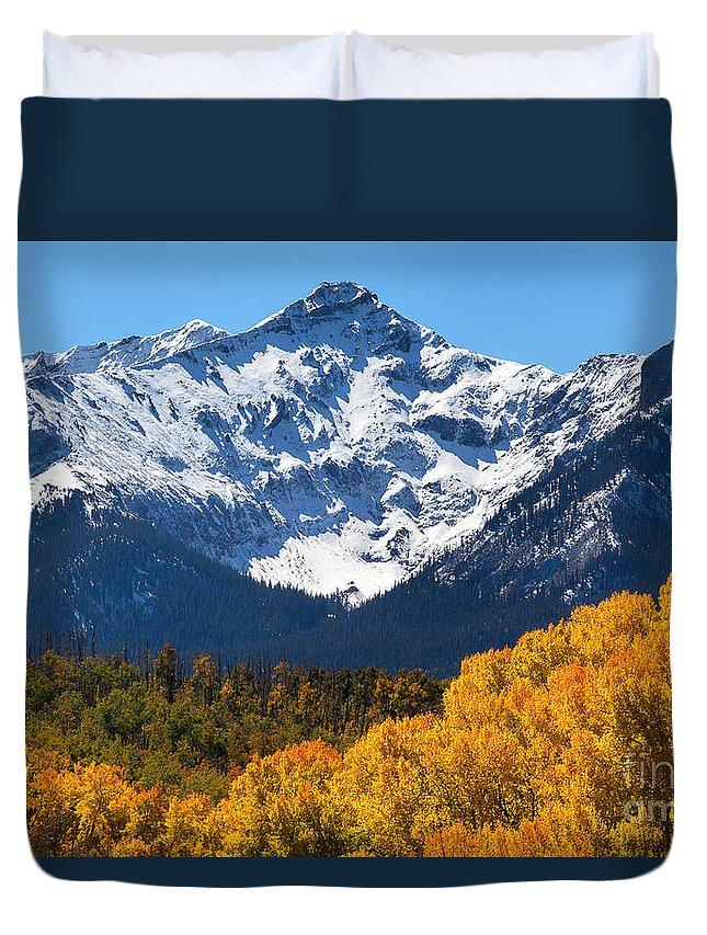 Mt. Sneffels Duvet Cover featuring the photograph Autumn Curtains by Jim Garrison