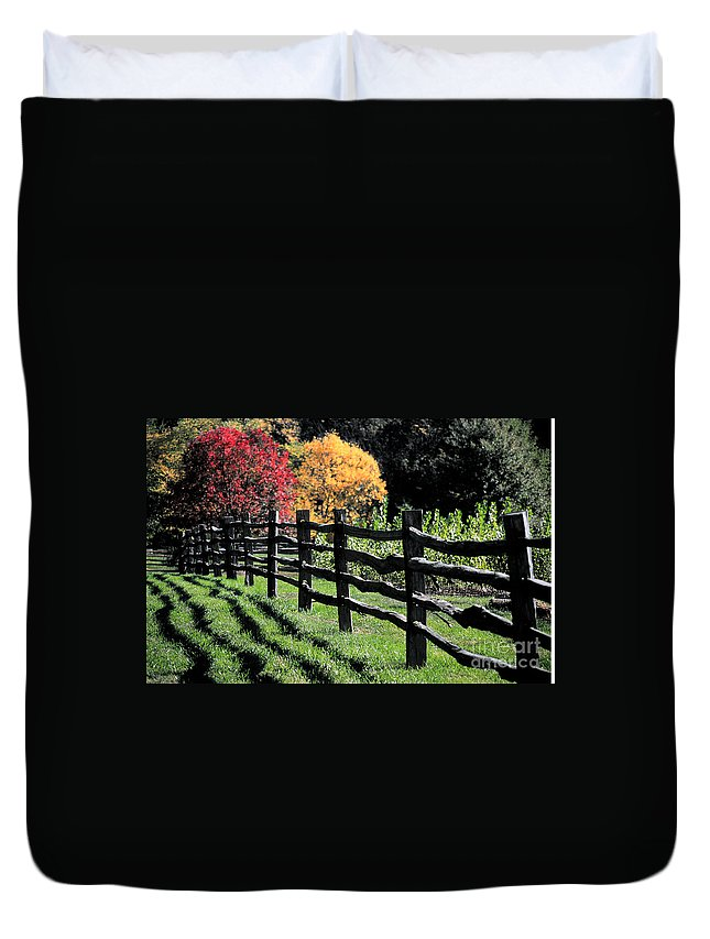 Autumn Duvet Cover featuring the photograph Autumn Fence And Shadows by Mike Nellums