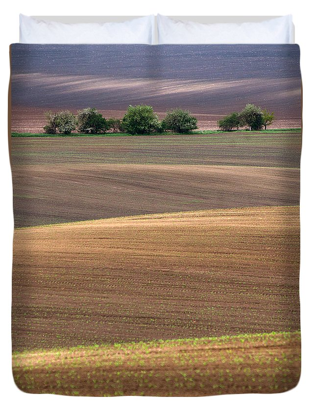 Landscape Duvet Cover featuring the photograph Autumn Fields Of Moravia by Jaroslaw Blaminsky