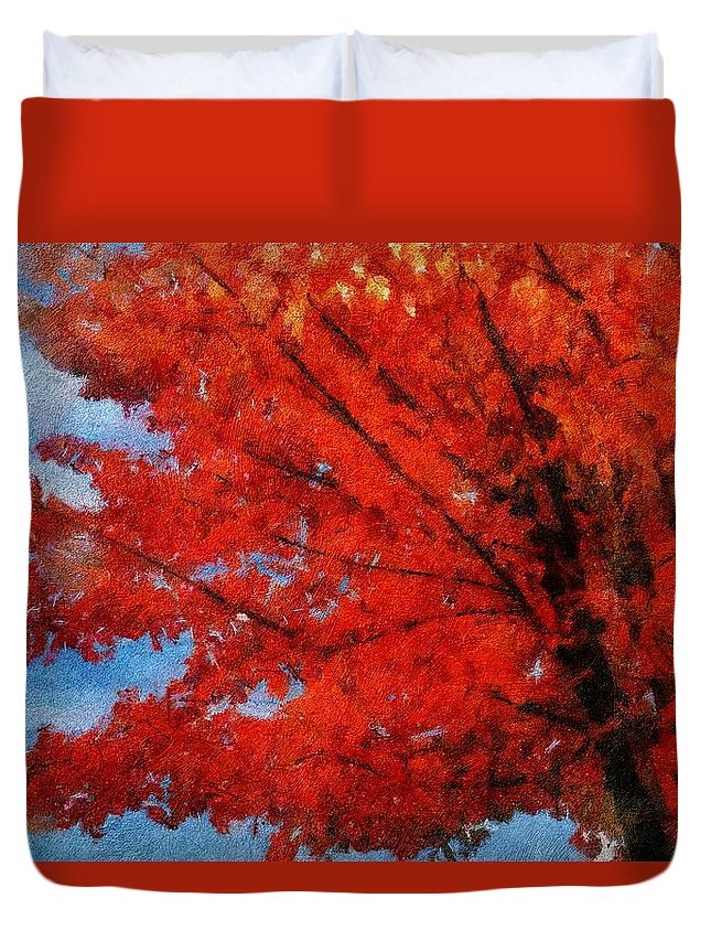 Autumn Duvet Cover featuring the painting Autumn Fire by Jeffrey Kolker