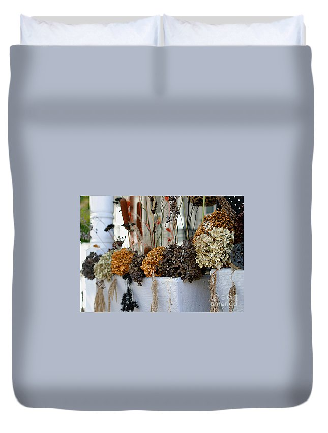 Autumn Duvet Cover featuring the photograph Autumn Flower Box by Living Color Photography Lorraine Lynch