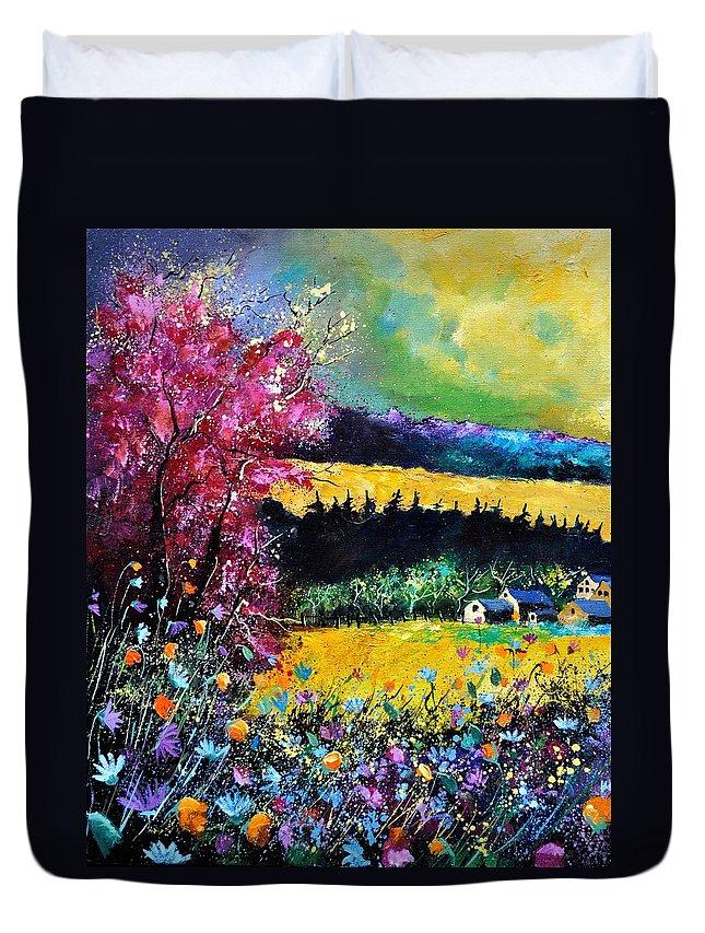 Landscape Duvet Cover featuring the painting Autumn Flowers by Pol Ledent